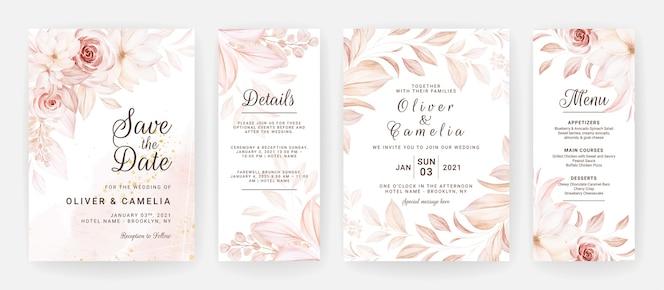 茶色のバラの花と葉の装飾が設定された花の結婚式の招待状のテンプレート。