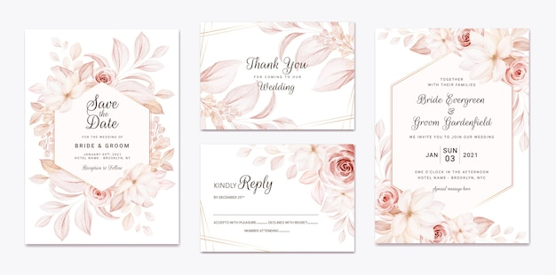 Floral wedding invitation template set with brown roses flowers and leaves decoration.