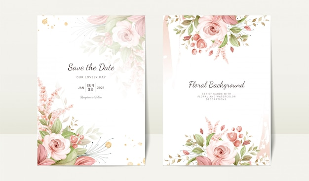 Floral wedding invitation template set with brown watercolor rose and leaves decoration. botanic card design concept