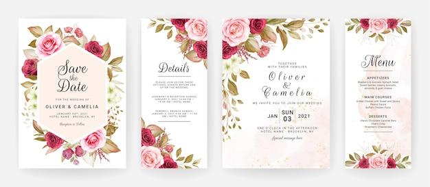 Цветочный шаблон свадебного приглашения с бордовыми и персиковыми розами, украшенными цветами и листьями.