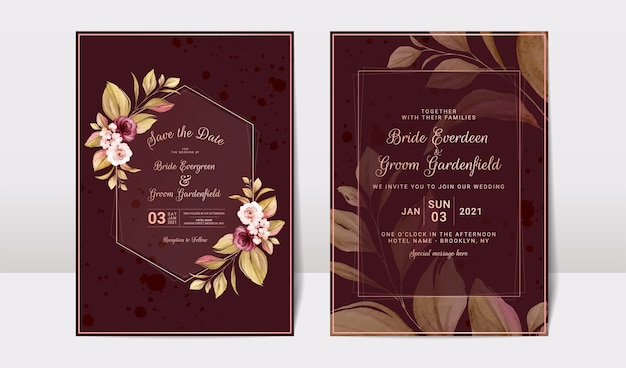 Floral wedding invitation template set with burgundy and peach roses flowers and leaves decoration.