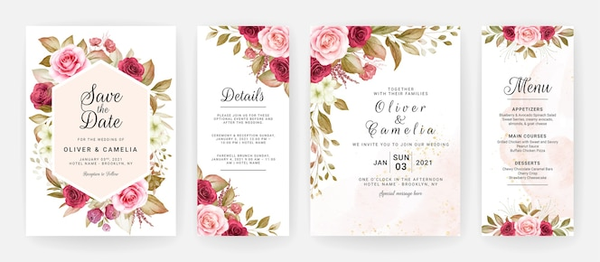 Modello di invito matrimonio floreale con decorazioni di fiori e foglie di rose bordeaux e pesca.