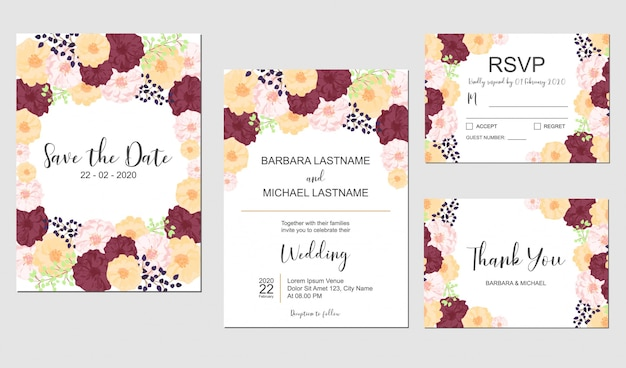 Floral wedding invitation template set with colorful flower