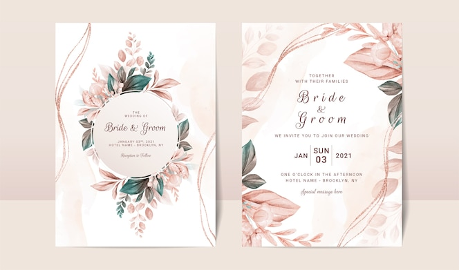 Floral wedding invitation template set with elegant brown leaves decoration