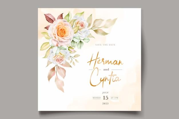 エレガントな茶色の葉で設定された花の結婚式の招待状のテンプレート
