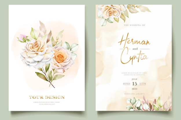 Floral wedding invitation template set with elegant brown leaves