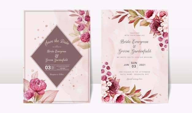 우아한 부르고뉴와 갈색 장미 꽃과 잎 장식으로 설정 꽃 결혼식 초대장 템플릿. 식물 카드 디자인 컨셉