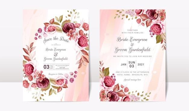 Floral wedding invitation template set with elegant burgundy and brown roses flowers and leaves decoration. botanic card design concept