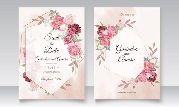 Цветочный шаблон свадебного приглашения с элегантными цветами и листьями