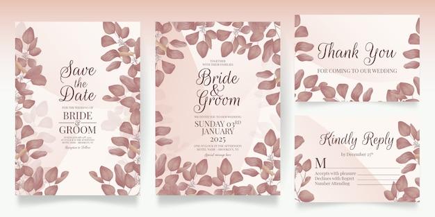 Floral wedding invitation template set with elegant leaves decoration