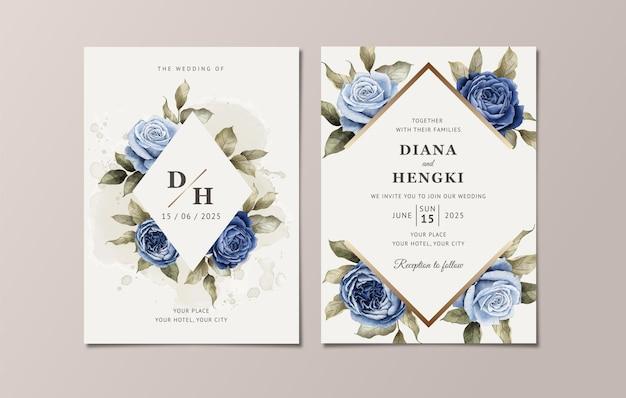 우아한 감색 장미와 잎으로 설정 꽃 결혼식 초대장 서식 파일
