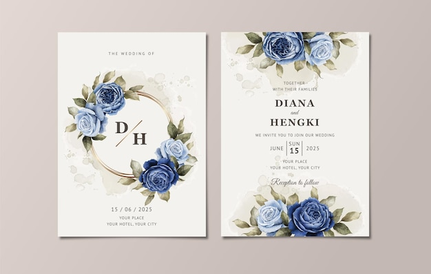 Floral wedding invitation template set with elegant navy blue roses and leaves