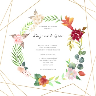Floral wedding invitation template set with flower bouquet decoration
