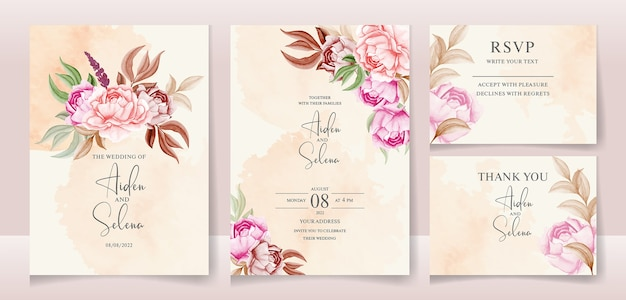 Floral wedding invitation template set with gold burgundy leaves with creamy water color splash