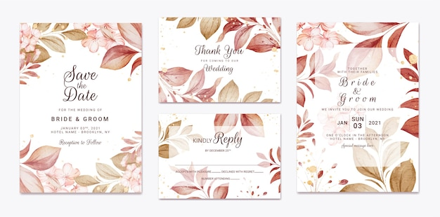 Floral wedding invitation template set with gold burgundy