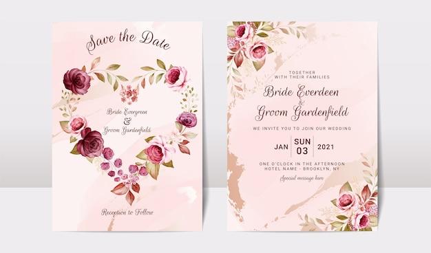 ゴールドバーガンディとセットの花の結婚式の招待状のテンプレート
