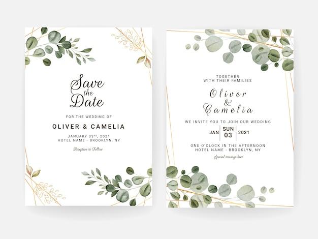 葉で設定された花の結婚式の招待状のテンプレート。植物カードのデザインコンセプト
