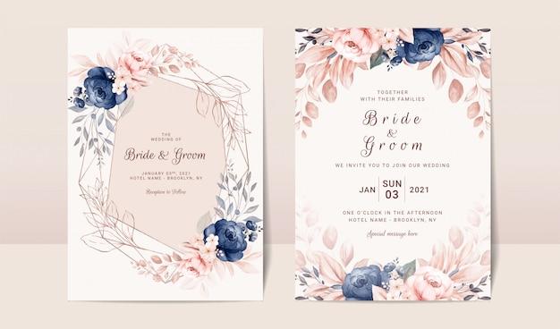 海軍と桃の水彩画のバラと葉の装飾入り花の結婚式の招待状のテンプレート。植物カードデザインコンセプト