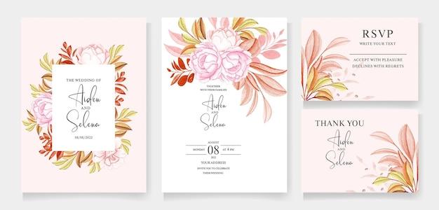Цветочный шаблон свадебного приглашения с персиковыми розами и красивыми кремовыми листьями