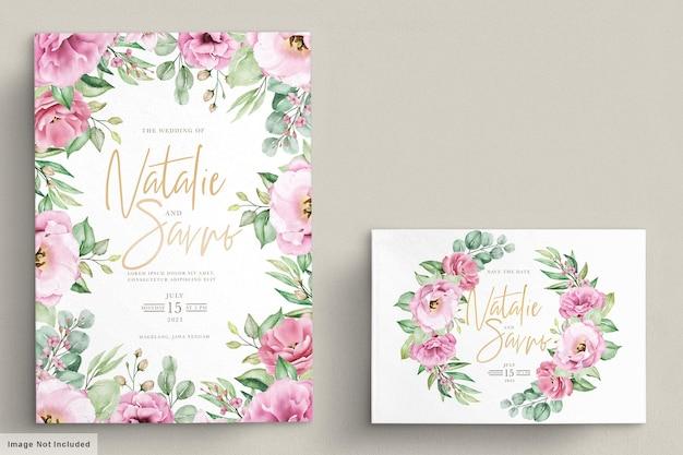 Цветочный шаблон свадебного приглашения с розовыми розами, цветами и листьями