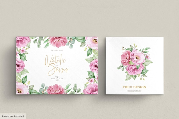 Floral wedding invitation template set with pink roses flowers and leaves