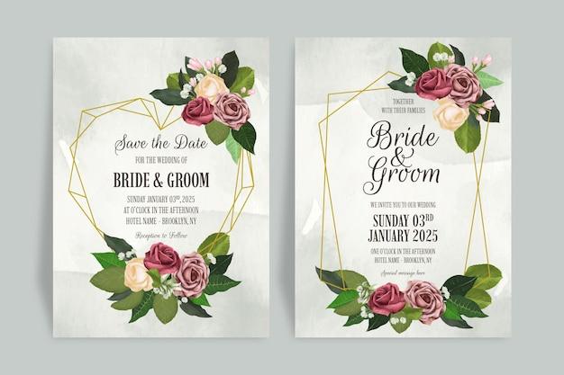 수채화 장미와 꽃 결혼식 초대장 서식 파일 장식 나뭇잎