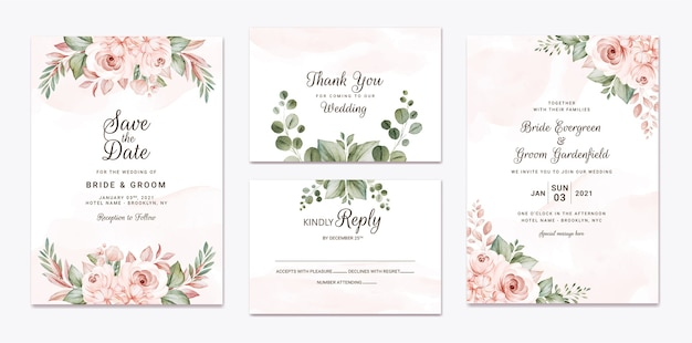 Floral wedding invitation template set with white and peach roses flowers and leaves decoration. botanic card design concept