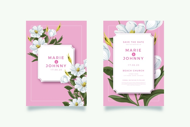 꽃 결혼 초대장 템플릿 테마