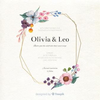 Floral wedding invitation template in watercolor