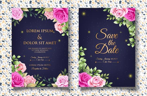 美しい花と葉を持つ花の結婚式の招待状のテンプレート