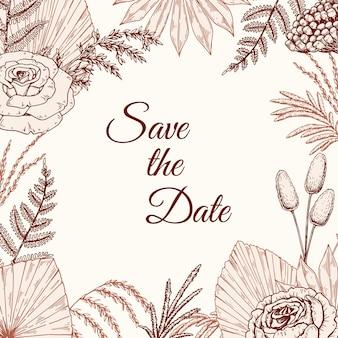自由奔放に生きるスタイルで乾燥した植物と花の結婚式の招待状のテンプレート