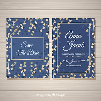 Floral wedding invitation template with golden design elements