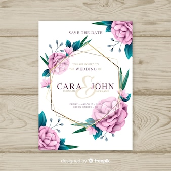 Floral wedding invitation template with golden elements