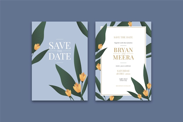 Floral wedding invitation template with leaves
