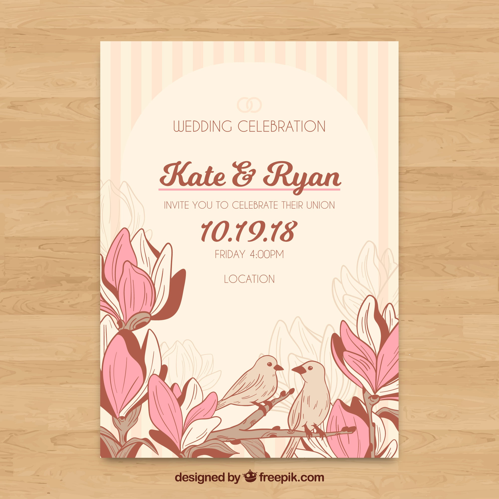Floral wedding invitation template with vintage style