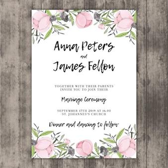 Floral wedding invitation template on wood