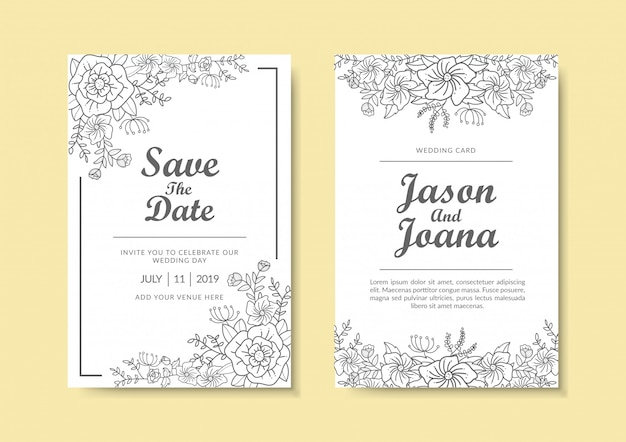 Floral wedding invitation template.