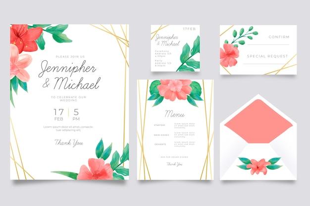 Modello di invito di matrimonio floreale