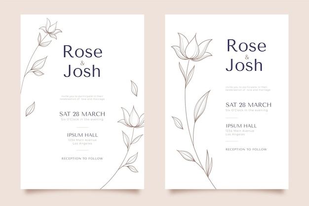 花の結婚式の招待状のテンプレート