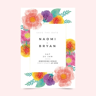 Floral wedding invitation template