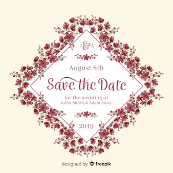 Floral wedding invitation watercolor template