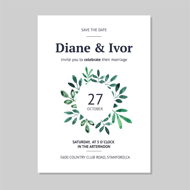 Floral wedding invitation in watercolor