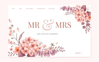 Floral wedding invitation website design
