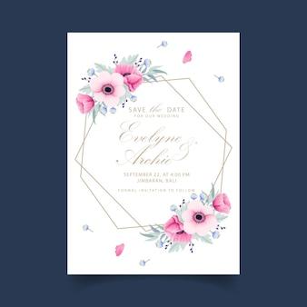 Свадебное приглашение с цветами анемона и мака
