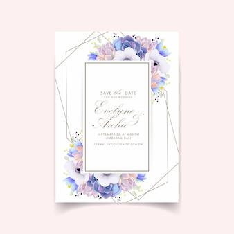 아네모네 꽃과 즙이 많은 꽃 결혼 초대장