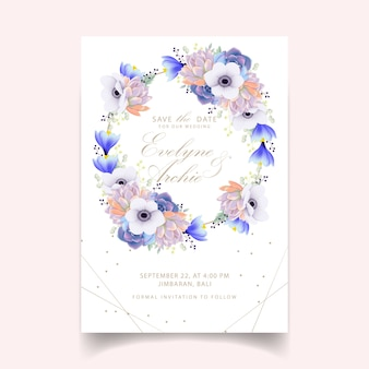 Floral wedding invitation with anemone flower and succulent