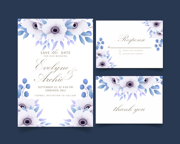 Floral wedding invitation with anemone flowers