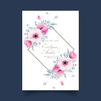 Floral wedding invitation with anemone and poppy flowers