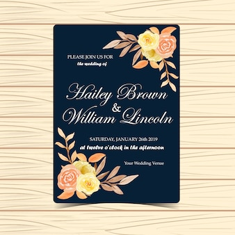 Floral wedding invitation with autumn flowers and leaves