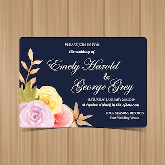 Floral Wedding Invitation with Autumn Flowers
